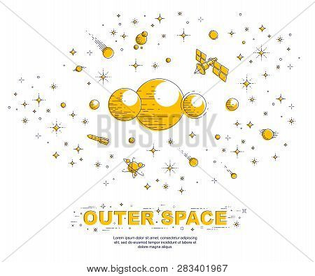 Fantastic Galaxy With Unknown Weird Undiscovered Planets With Stars And Other Elements. Explore Univ