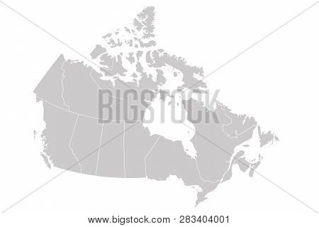 Blank Map Of Canada Divided Into 10 Provinces And 3 Territories. Administrative Regions Of Canada. S