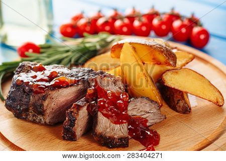 Beef Steak Meat Grilled Potato Side Closeup View