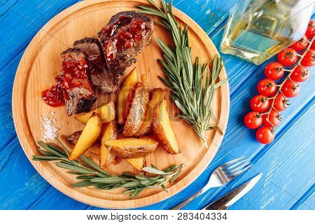 Beef Steak Meat Grilled Potato Top Down Flatlay