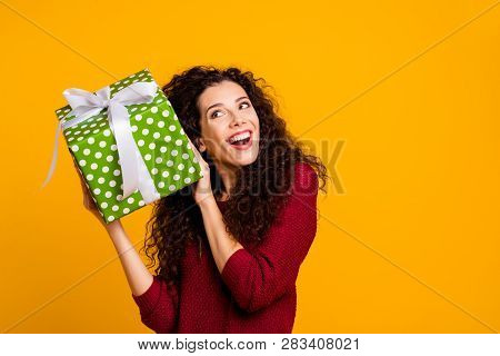 Close Up Photo Beautiful Cheerful Amazing Her She Lady Holding Large Package Amazed Expression Maybe
