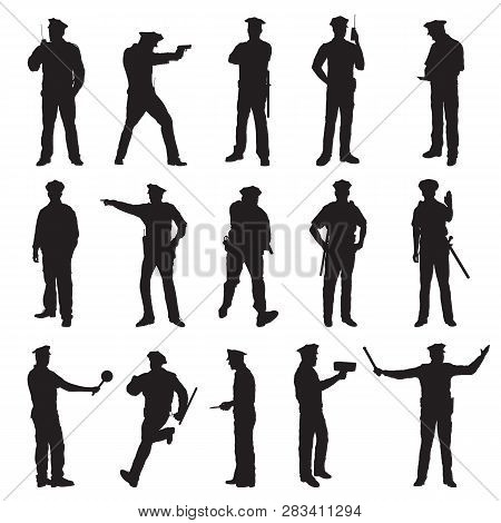 New York Police Set Of Fifteen Black Vector Silhouette Illustration