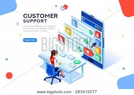 Customer Support Concept. Consultant On Hotline Chat, Telemarketer. Helpdesk Talking. Infographic Of
