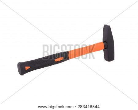 Orange Hammer On White Background. Orange And Red Metal Hammer Isolated On White Background