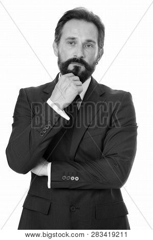 Businessman Bearded Thoughtful Entrepreneur. Thoughtful Businessman Concept. Businessman Thoughtful