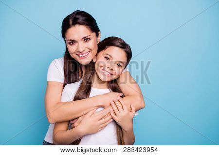 Close Up Photo Amazing Pretty Two People Brown Haired Mum Mom Small Little Daughter Stand Hugging Pi