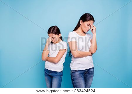 Close Up Photo Two People Brown Haired Mum Disinterested Small Little Daughter Hand On Face Sick And
