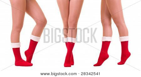 Sexy legs in Santa Claus's sock