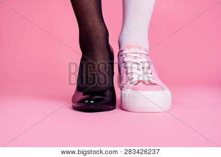 Cropped Close-up View Image Concept Photo Of Two Different Fit Thin Slim Legs Cozy Comfort Luxury Lu