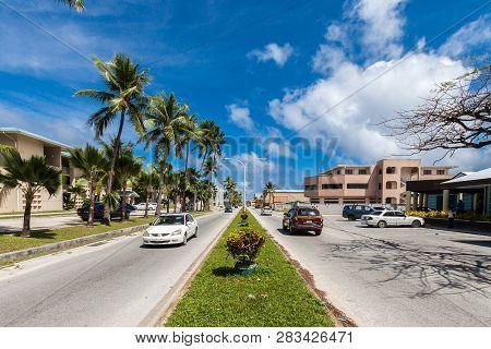 Majuro Atoll, Marshall Islands - Jan 3 2012: Majuro Town Central Boulevard View. Central Business Di