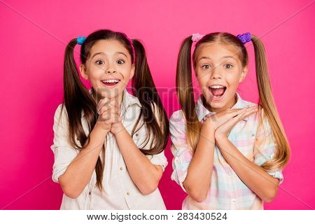 Close Up Photo Two Little Age Girls Hands Arms Palms Together Yell Scream Shout Want Buy Buyer Table