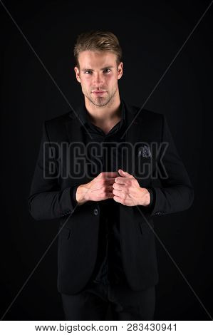 Male Beauty And Masculinity. Guy Attractive Confident Model. Confident In His Style. Man In Dark Clo