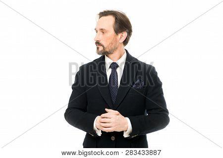 Suit Imbue Sense Of Confidence Of Gentlemen. Man Handsome Confident Mature Fashion Model Wear Fashio