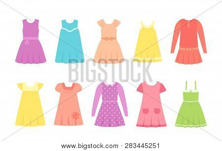Baby Dresses. Vector. Girl Clothes. Children Clothing Set. Kid Models. Collection Summer Garment Iso
