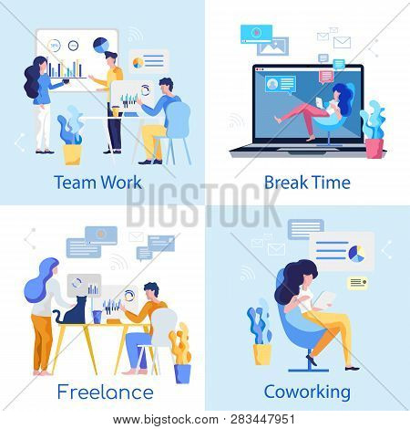 Break Time. Freelance. Team Work. Coworking. Young Female Freelancer Sitting Office Chair. Team Prof