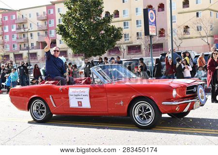 LOS ANGELES - FEBRUARY 9, 2019: Los Angeles County Assessor Jeffrey Prang rides in the Chinese New Year Parade.