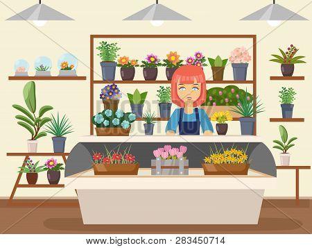 Flower Shop Interior Green Natural Decorations Woman Florist Seller Cartoon Design Vector Illustrati