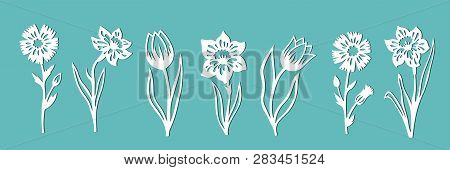 A Set Of Flowers For Decoration. Templates For Paper Cutting, Laser Cutting And Plotter. Vector Illu