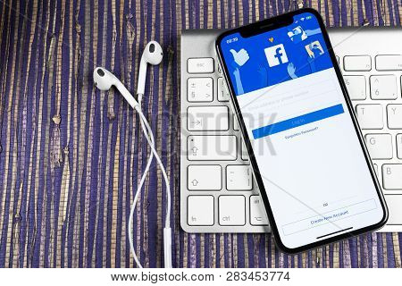 Sankt-petersburg, Russia, February 10, 2019: Facebook Application Icon On Apple Iphone X Smartphone