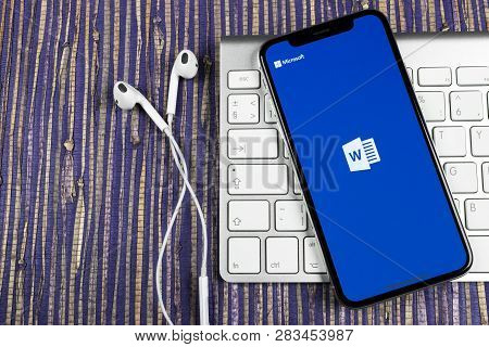Sankt-petersburg, Russia, February 10, 2019: Microsoft Word Application Icon On Apple Iphone X Scree