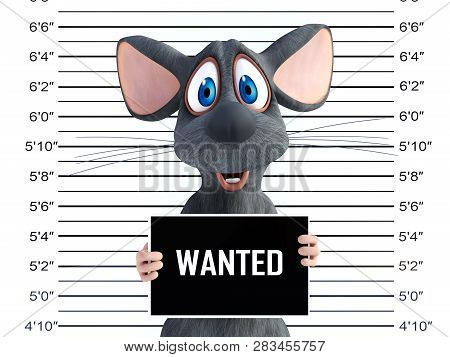 3d Rendering Of A Smiling Cartoon Mouse In A Mugshot.