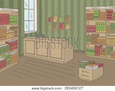Book Shop Store Interior Graphic Color Sketch Illustration Vector