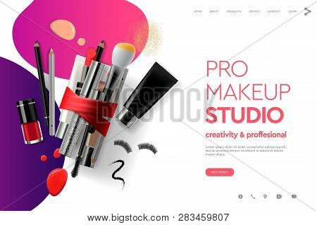 Web Page Design Template For Makeup Studio, Course, Natural Products, Cosmetics, Body Care. Modern D