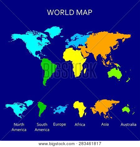 Continent Map. Colorful World Map For Atlas Design With North America, South America, Europe, Africa