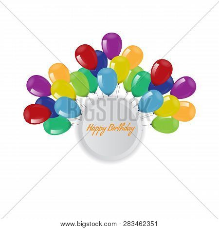 Birthday Background With Flying Balloons Border Frame And Copyspace. Vector Illustration.