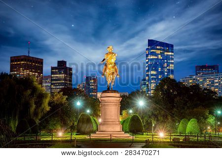 George Washington Equestrian Statue At Public Garden In Boston At Night, Massachusetts