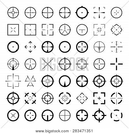 Sniper Scope Crosshairs Icon Set. Isolated Rifle Gun Target Sights.