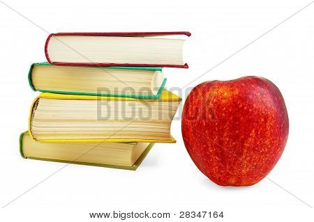 Books With Red Apple