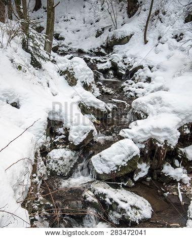 Mountain Sreeam Bellow Lysa Hora Hill In Moravskoslezske Beskydy Mountains In Czech Republic With St