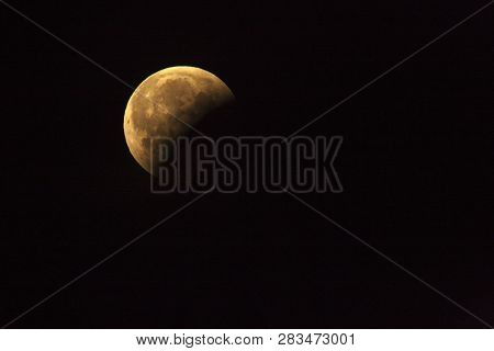Lunar Eclipse, Blood Moon In The Dark Night. January 2019.