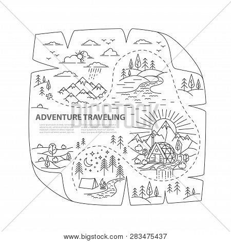Old Map Of The Treasure. Adventure Nature Travel. Ready To Use Template For Hiking Traveling.