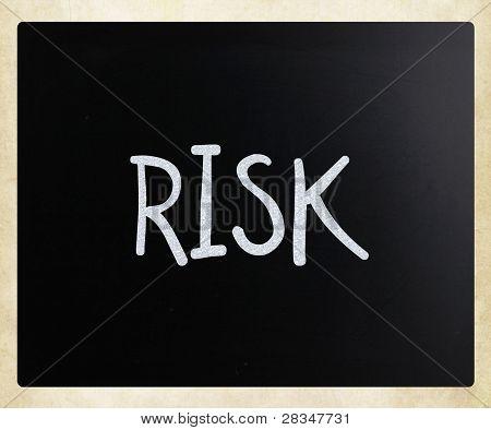 "The Word ""risk"" Handwritten With White Chalk On A Blackboard"