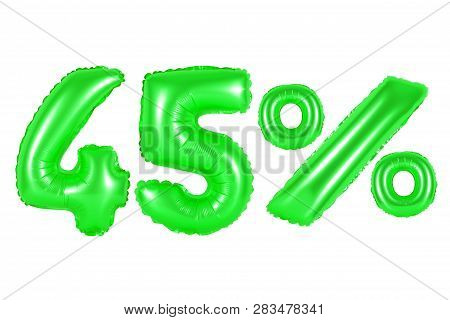 Forty Five 45 Percent From Green Balloons On A White Background. Discounts And Sales, Holidays And E