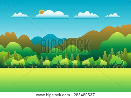 Hills And Mountains Landscape In Flat Style Design. Valley Background. Beautiful Green Fields, Meado