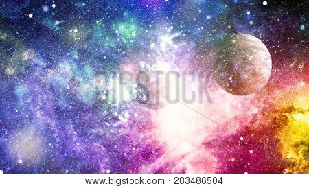 Space Background With Red Nebula And Stars. Dreamscape Galaxy. Elements Of This Image Furnished By N