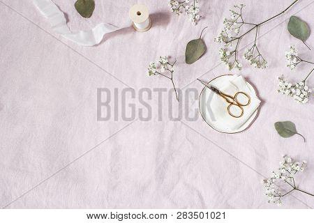 Styled Stock Photo. Feminine Wedding Desktop Scene. Babys Breath Gypsophila Flowers, Dry Green Eucal