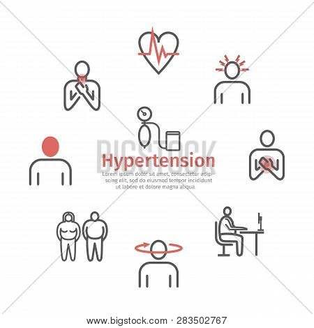 Hypertension Banner. Symptoms, Treatment. Line Icons Set. Vector Signs For Web Graphics.