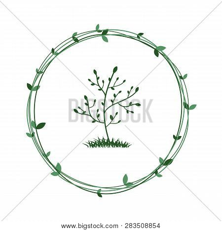 Tree In A Green Wreath. Ecological Symbol Of Nature Conservation. Vector. Eps 10