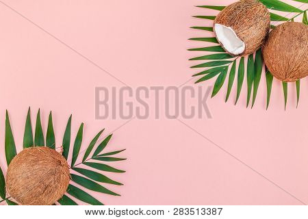 Creative Flat Lay Top View Of Green Tropical Palm Leaves Coconut Fruits And Coconut Oil Cosmetics Fo