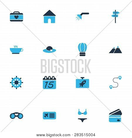 Tourism Icons Colored Set With Coffee, The Mountains, Suitcase Female And Other Airline Pass Element