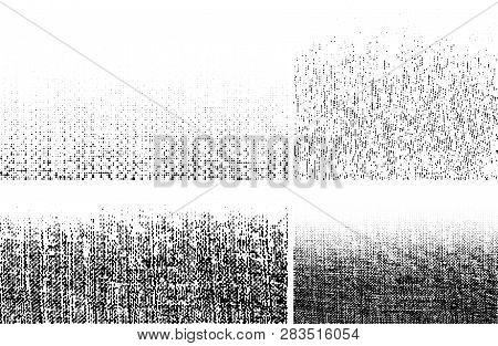 Grunge Rough Halftone Texture. Crumpled Burlap. Canvas Grunge Effect. Gradient Textile Background Us