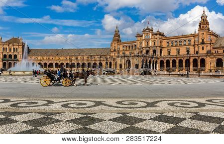 Seville, Spain - July 15, 2017: Seville Is The Capital Of The Autonomous Community Of Andalusia In S