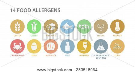 Food Allergens White Icons In Pastel Colorful Circles. 14 Food Allergens Vector Circle Icon Set. Pea
