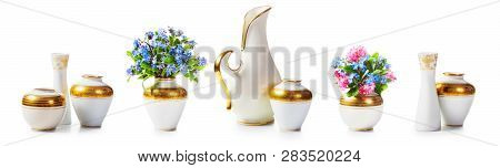 Antique White Porcelain Small Vases And Forgetmenot Flower Bouquet Collection Isolated On White Back