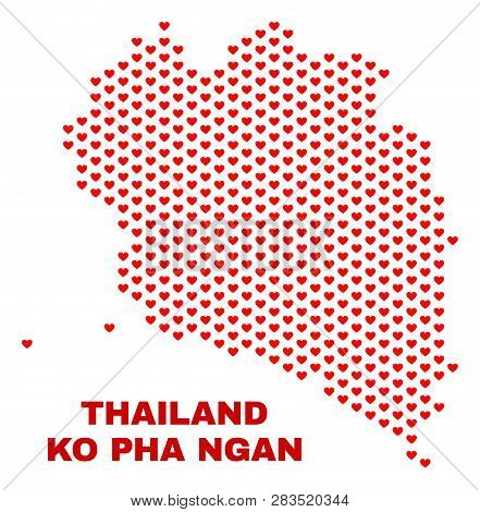Mosaic Ko Pha Ngan Map Of Heart Hearts In Red Color Isolated On A White Background. Regular Red Hear
