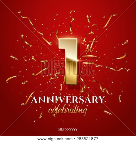 1 Golden Number And Anniversary Celebrating Text With Golden Serpentine And Confetti On Red Backgrou